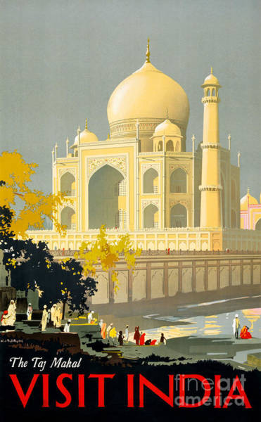 Wall Art - Painting - Taj Mahal Visit India Vintage Travel Poster Restored by Vintage Treasure