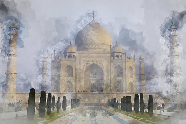 Painting - Taj Mahal Digital Watercolor On Photograph by Brandon Bourdages