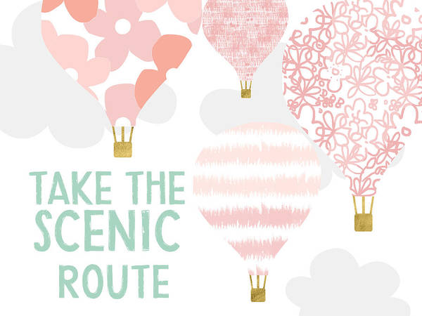 Air Balloon Wall Art - Digital Art - Take The Scenic Route Pink- Art By Linda Woods by Linda Woods