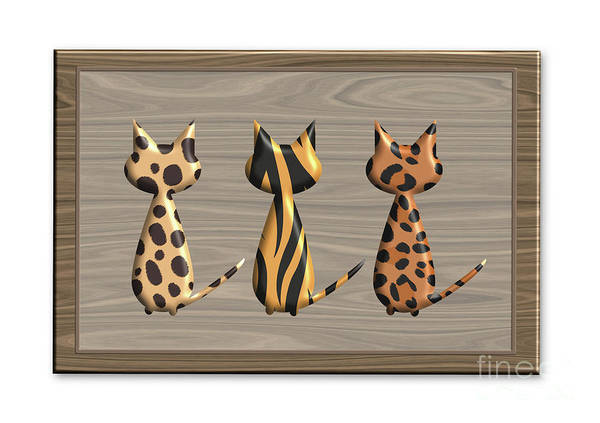 Digital Art - Take Three Cats by Barefoot Bodeez Art