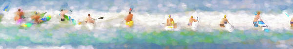 Digital Art - Take Your Marks Sea Kayak Racing Watercolor Panorama by Scott Campbell
