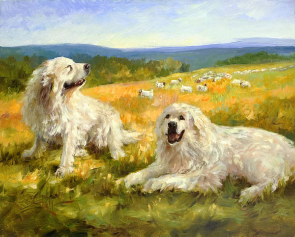 Pyrenees Painting - Taking A Break by Lilli Pell