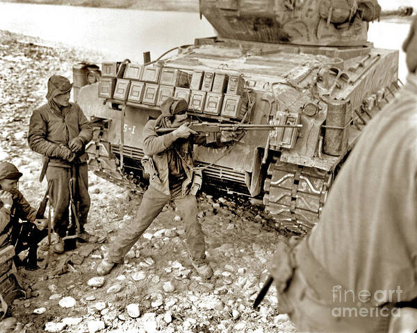 Photograph - Taking Cover Behind Their Escort, A U.s. Soldier Returns Fire Wi by California Views Archives Mr Pat Hathaway Archives