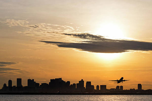 Photograph - Taking Off. Sunset Over Boston Ma And Logan Airport by Toby McGuire