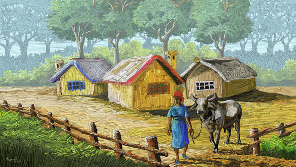 Umber Painting - Taking The Bull Out by Anthony Mwangi