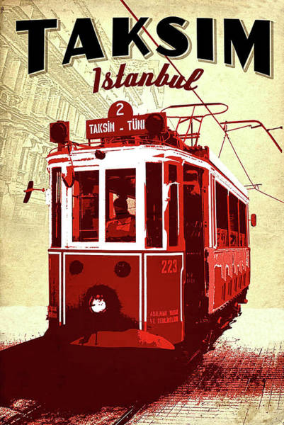 Istanbul Painting - Taksim, Istanbul, Red Tramway by Long Shot