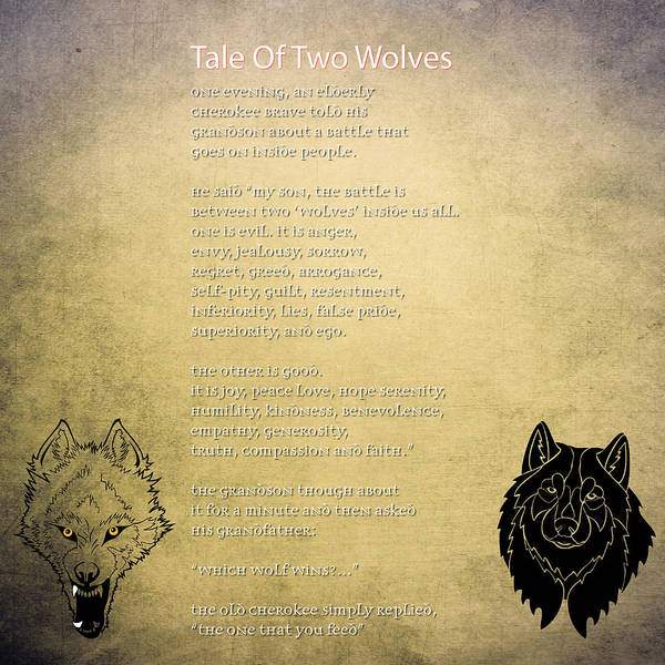 Painting - Tale Of Two Wolves - Art Of Stories by Celestial Images