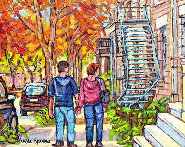Painting - Tall Blue Winding Staircase Autumn Street Painting Couple Strolls Verdun Montreal Art Carole Spandau by Carole Spandau