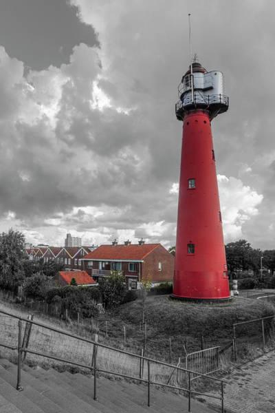 Scheveningen Photograph - Tall Red Lighthouse In Holland In Black And White by Debra and Dave Vanderlaan