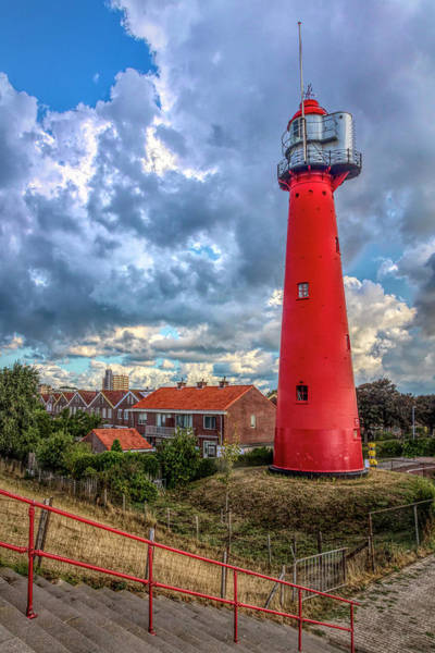 Scheveningen Photograph - Tall Red Lighthouse In Holland In Hdr Detail by Debra and Dave Vanderlaan