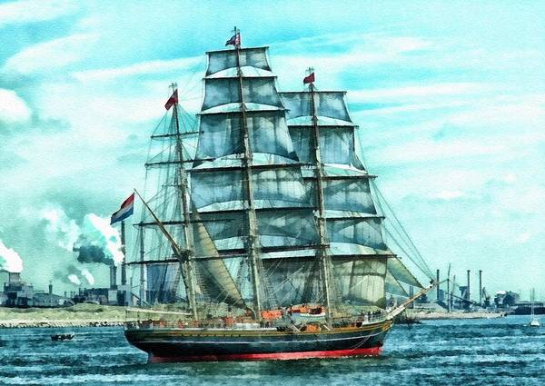 Harbor Scene Digital Art - Tall Sail Ship In Amsterdam Harbor L B by Gert J Rheeders