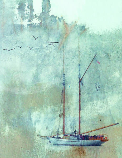 Tall Ships Wall Art - Mixed Media - Tall Ship Adventuress by Carol Leigh