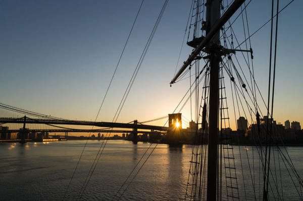 Photograph - Tall Ship And Brooklyn Bridge - Iconic New York City Sunrise by Georgia Mizuleva