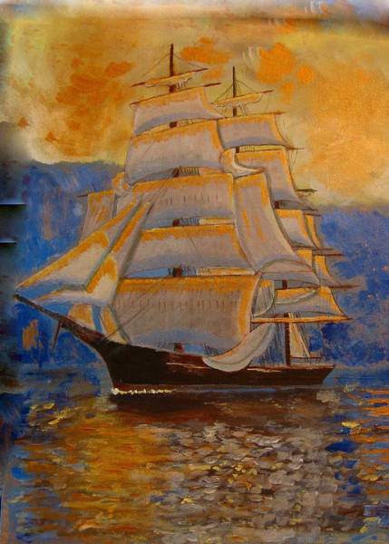 Painting - Tall Ship In The Sunset by Richard Le Page