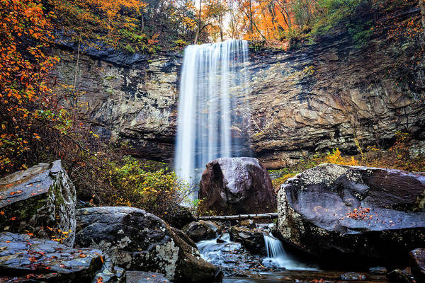 Cloudland Canyon Photograph - Tall Waterfall In The Mountains by Debra and Dave Vanderlaan