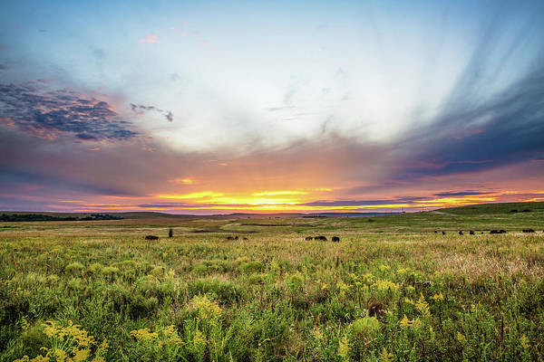 Tallgrass Wall Art - Photograph - Tallgrass Prairie - Incredible Sunset Over Open Plains In Oklahoma by Southern Plains Photography