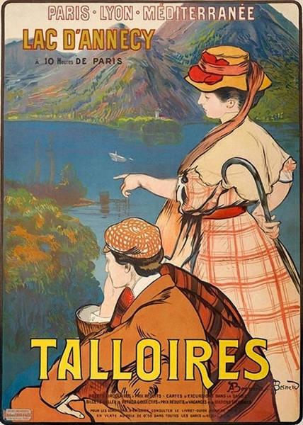 Retro Paris Painting - Talloires, France, Paris Lyon Mediterranean by Long Shot