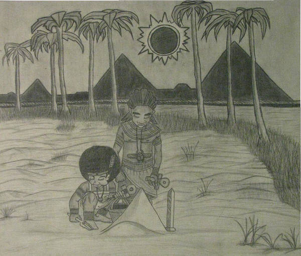 Eclipse Mixed Media - Tamarean Sand Pyramids by Derrick Colter