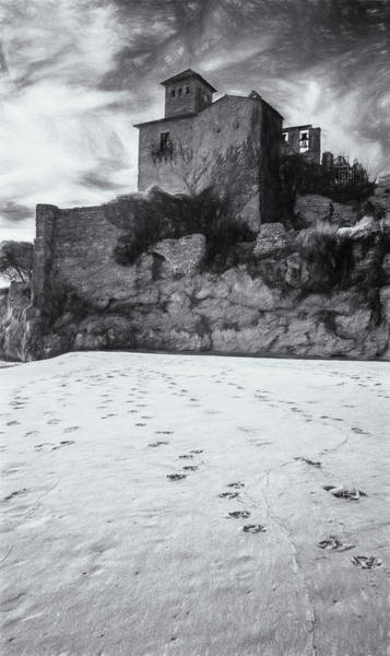 Photograph - Tamarit Castle Approach Bw Sketch by Joan Carroll