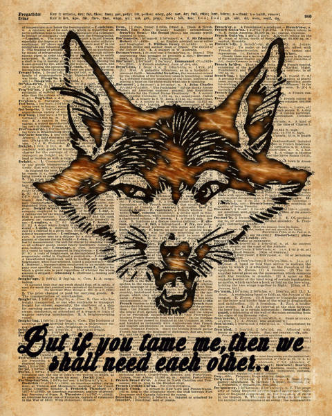 Wall Art - Digital Art - Tame Me - Fox Said. Dictionary Art  by Anna W