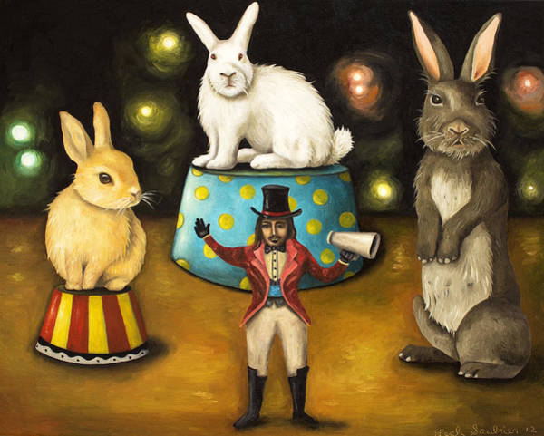Painting - Taming Of The Giant Bunnies by Leah Saulnier The Painting Maniac