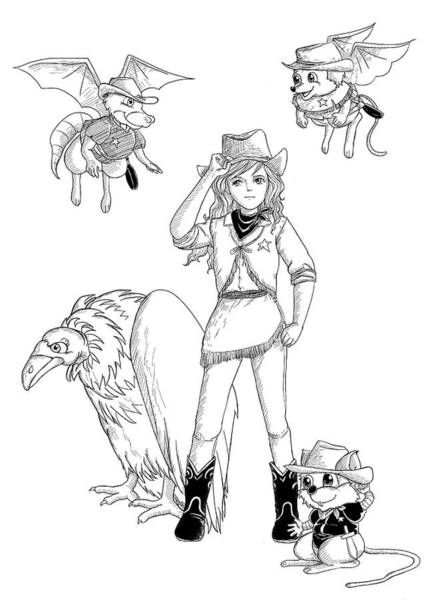 Drawing - Tammy And Her Critters Tame The West by Reynold Jay