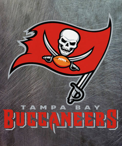 Mixed Media - Tampa Bay Buccaneers On An Abraded Steel Texture by Movie Poster Prints