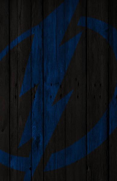 Tampa Digital Art - Tampa Bay Lightning Wood Fence by Joe Hamilton
