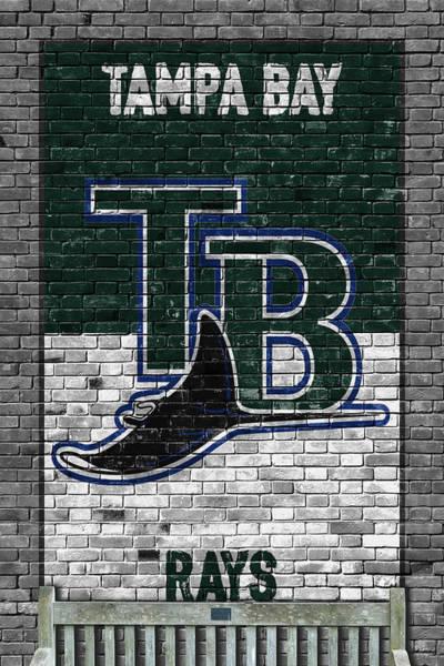 Wall Art - Painting - Tampa Bay Rays Brick Wall by Joe Hamilton
