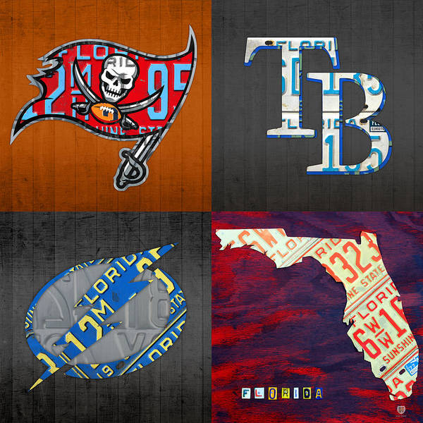 Wall Art - Mixed Media - Tampa Bay Sports Fan Recycled Vintage Florida License Plate Art Bucs Rays Lightning Plus State Map by Design Turnpike