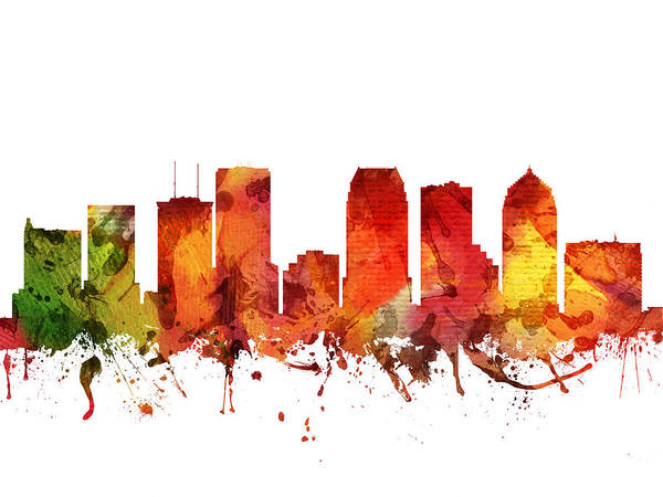 Tampa Digital Art - Tampa Cityscape 04 by Aged Pixel