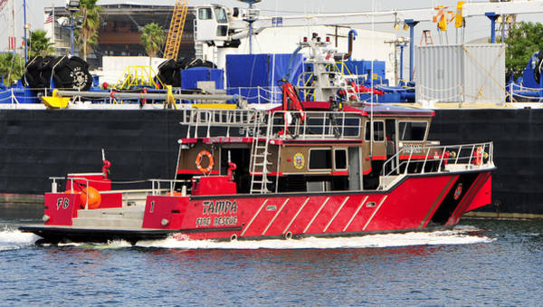 Fireboat Wall Art - Photograph - Tampa Fire Rescue Boat by David Lee Thompson