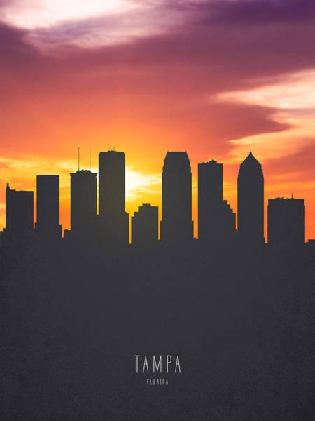 Tampa Digital Art - Tampa Florida Sunset Skyline 01 by Aged Pixel