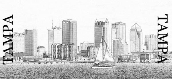 Tampa Digital Art - Tampa Florida Pano Art by David Lee Thompson