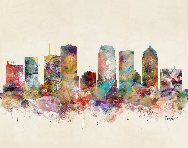 Florida City Painting - Tampa Florida Skyline by Bri Buckley