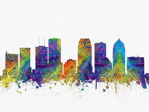 Tampa Digital Art - Tampa Florida Skyline Color03 by Aged Pixel