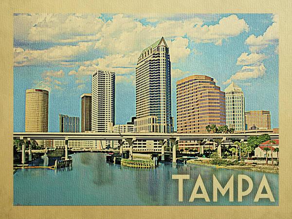 Tampa Digital Art - Tampa Florida Travel Poster by Flo Karp