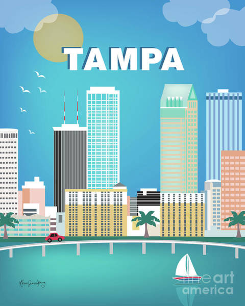 Tampa Digital Art - Tampa Florida Vertical Skyline by Karen Young