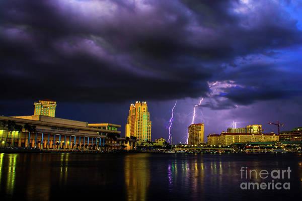 Grey Cloud Photograph - Tampa Lightning by Quinn Sedam