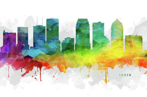 Tampa Digital Art - Tampa Skyline Mmr-usflta05 by Aged Pixel
