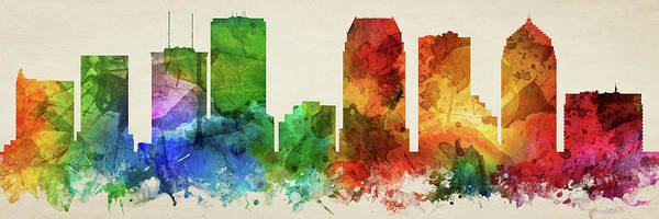 Wall Art - Digital Art - Tampa Skyline Panorama Usflta-pa03 by Aged Pixel
