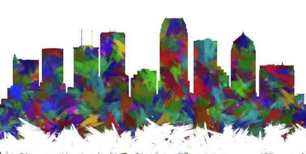 Tampa Digital Art - Tampa Skyline Silhouette Abstract I by Ricky Barnard
