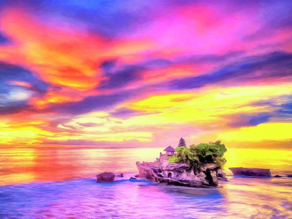 Wall Art - Painting - Tanah Lot Temple Sunset Bali by Dominic Piperata