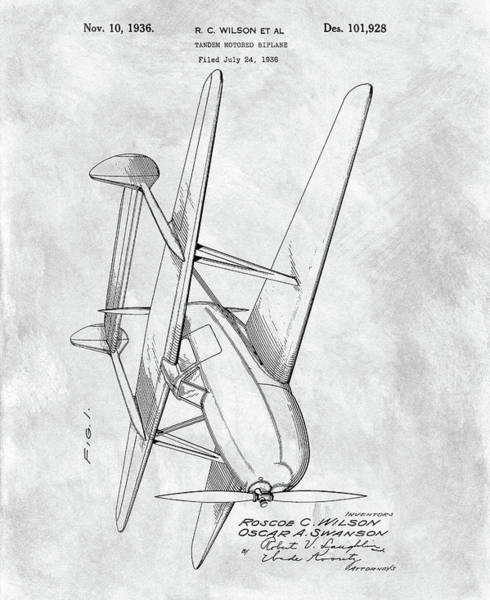 Drawing - Tandem Biplane Patent by Dan Sproul
