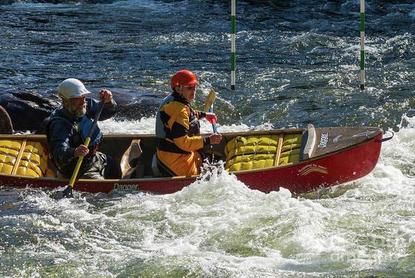 Photograph - Tandem Canoe Entering The Rapids by Les Palenik