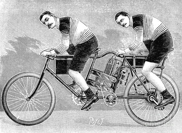 Photograph - Tandem Motorcycle, 1899 by Granger