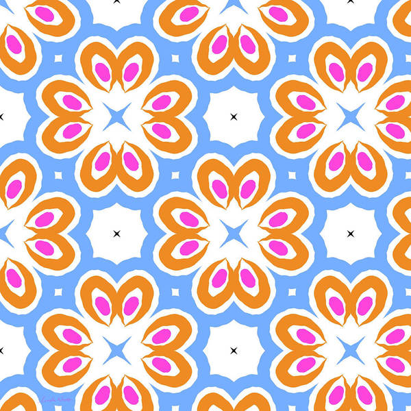 Floral Digital Art - Tangerine And Sky Floral Pattern- Art By Linda Woods by Linda Woods