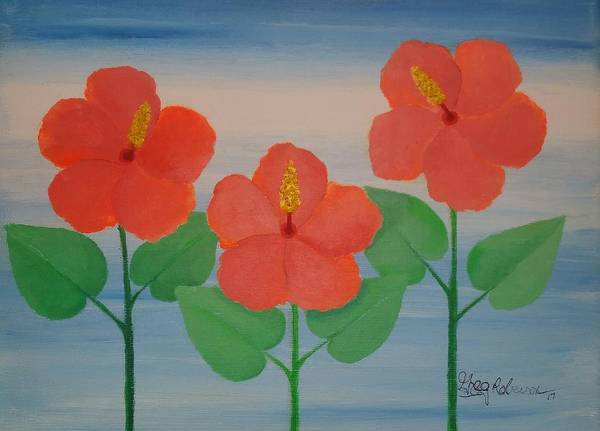 Wall Art - Painting - Tangerine Hibiscus  by Greg Roberson