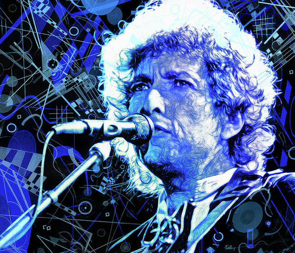 Wall Art - Mixed Media - Tangled Up In Blue, Bob Dylan by Mal Bray