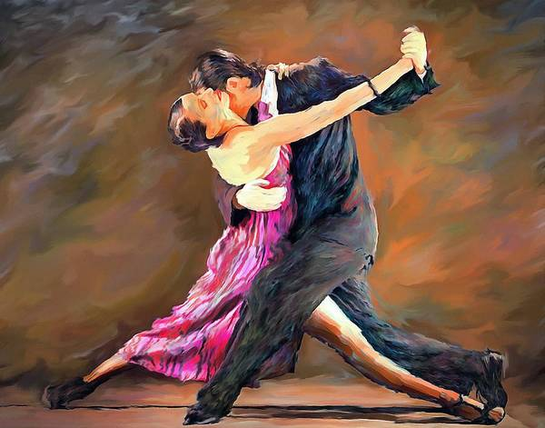 Wall Art - Painting - Tango Dance Landscape Art Painting by Andres Ramos